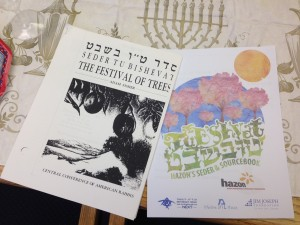 It wasn't all just eating almonds and fruit! Janet and Jim took the children through a Haggadah for TuB'Shevat