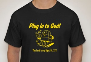 "The t-shirts for VBS Day Camp 2017: ""Plug into God!"""