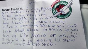 A sample of our children's notes in our Operation Christmas Child gifts