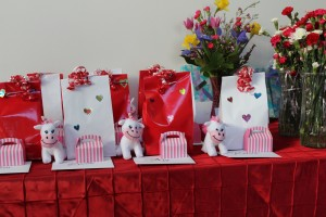 Each girl got a special gift and a personalized Valentine