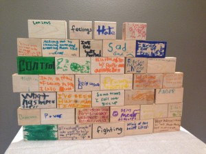 Children were asked to write down the feeling or problem they felt was a big part of the wall they have put up to protect their hearts, but they want God's help to work through so the wall can come down.