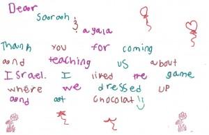 a thank you note from one of our children to Sarah and Ayala